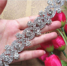 20cm Sparkle Crystal Rhinestone Chain Ribbon Trim Bridal Dress Costume Applique