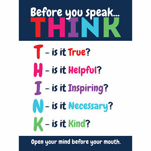 Before You Speak Think Life Inspirational Large Canvas Wall Art Print