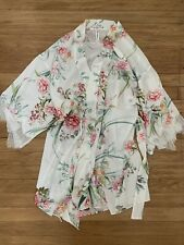 Flora Nikrooz Kimono Floral Short Robe Bridal Wedding Size Small