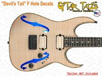 """F Hole """"Devil's Tail"""" style Guitar and Bass Decals sticker set (1) Color"""
