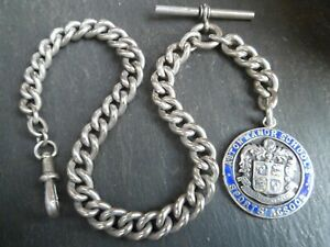 HEAVY 45g Antique Chunky Silver Tone Albert Pocket Watch Chain + WWI Silver Fob