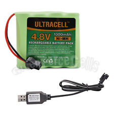 4.8V 1300mAh Ni-MH Rechargeable Battery Pack Cell SM Plug Ultracell + USB Cable