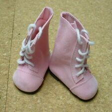"""Doll Shoes, 85mm PINK SUEDE Lace up Boots for Chatty Cathy, My Twinn 20"""""""