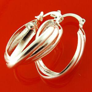 Hoop Earrings Real 925 Sterling Silver S/F Ladies Long Oval Drop Twist Design