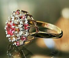 Ruby & Spinel fashion ring. UK Hallmarked 9ct gold,  Free shipping Xx
