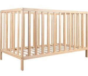 InfaSecure™ Lawson Natural Raw Timber Wood Wooden Cot Infant/Toddler Adjustable