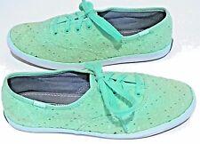Women's Keds Classic Green Eyelet Lace Fashion Fabric Sneakers Shoes 6.5 EU 37