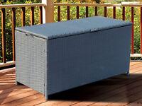 NEW FULL STEEL RATTAN CORNER SOFA GARDEN FURNITURE STORAGE CHEST TRUNK BOX PATIO