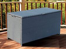 NEW FULL STEEL RATTAN CORNER SOFA GARDEN FURNITURE STORAGE CHEST TRUNK BOX PATIO