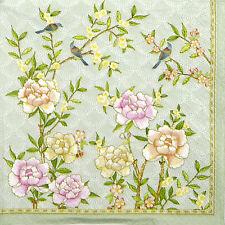 4x Papier Servietten für Decoupage Vintage Palast Garten Aqua