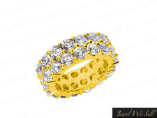 Band Ring 10k Gold Gh I1 6.8Ct Round Diamond 2Row Staggered Eternity Anniversary
