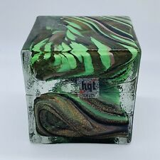 """HQT Art Glass Handmade Solid Resin Cube Paperweight Multicolored 4""""T"""