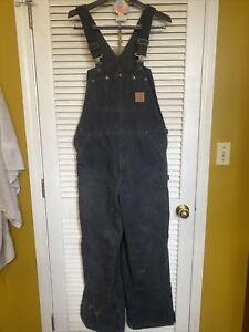 Vintage Carhartt USA Double Knee Duck Bibs Overalls Black 36 X 32