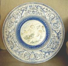Fine Hugo Lonitz German majolica pottery plate, Cherubs &Dolphins, antique c19th