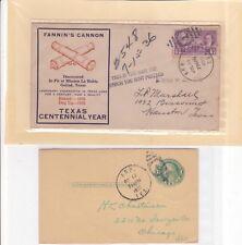 """#776 Arp TEXAS Centennial 7/19/1936 """"Fannin's Cannon"""" Smith County + 1 card !!"""