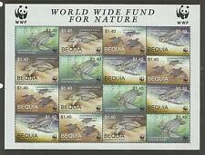 ST VINCENT GRENADINES BEQUIA WWF WORLD WILDLIFE 2001 TURTLES SHEET of 4 MNH