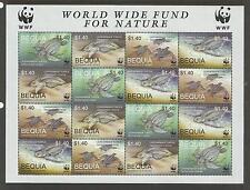 ST VINCENT GRENADINES BEQUIA WWF WORLD WILDLIFE 2001 TURTLES SHEET of 4 MNH