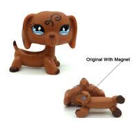 LPS Littlest Pet Shop #640 Swirl Blue Diamond Eyes Brown Dachshund Dog Animals