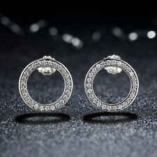 Wostu S925 Sterling Silver Stud Earrings CZ Circle ROUND For Women Christmas day