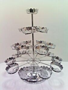 Godinger Silver  Art Company  4 Tier Revolving Cupcake Stand Chrome Holds 21