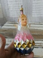 VTG Inge Glas Cherub Above Ball With Tinsel Wire Old World Holiday Ornament RARE