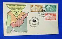 SPAIN - 1956 FDC MADRID Color ALFIL Cachet - Biblioteca Nacional, 3 Stamps