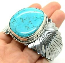 "Oval Turquoise Navajo Design Sterling Silver 925 Bracelet 87g 7.5"" AA536"