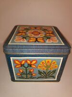 Current Inc Floral Fanfare Stationery Tin Vtg 1980 Butterflies Square Box Empty