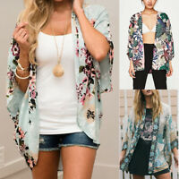 Women Boho Kimono Cardigan Kaftan Shawl Coat Beach Swimwear Cover Up Blouse Tops