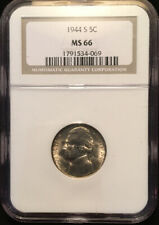 1944 S Jefferson Nickel NGC MS-66 Silver Wartime WWII Era 5c Type Coin