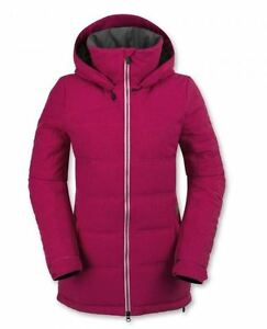 NWT WOMENS VOLCOM OKA PUFF DOWN SNOWBOARD JACKET $300 S maroon dry warm