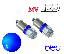 2 Ampoules T4W Ba9s 5 LED 24V Bleu Camion SCANIA IVECO RENAULT VOLVO MAN TRUCK