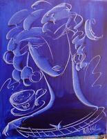 BLUE GIRL  canvas painting Mark Kazav Original Oil Painting no reserve STfgn