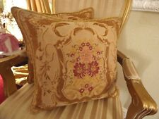 LAURA ASHLEY Tapestry Cushions x 2 FERNANDA Gold & Raspberry French Chateau Chic