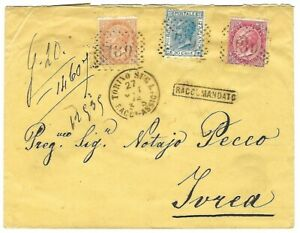 VE II 27 OTTOBRE 1872 BUSTA RACCOMANDATA TORINO NUMERALE 189 DLR 10 & 40 C. IVRE