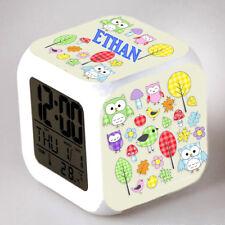 Reveil cube led lumière nuit alarm clock chouette personnalisé prénom  réf 04
