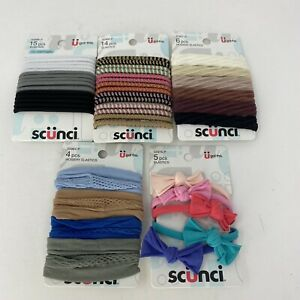 Scunci Ponytailers Hosiery Elastics Braided Ponytail Holders Mixed Lot 44 Count