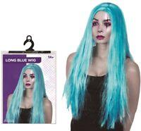 Halloween Long Ladies Fancy Dress Party Costume Long Blue Hair Wig Cosplay