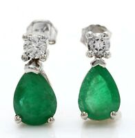 2.12 Carat Natural Emerald and Diamond in 14K Solid White Gold Stud Earrings