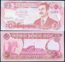 IRAK billet neuf 5 DINARS Pick80  emis sous SADDAM HUSSEIN imprime en CHINE 1992