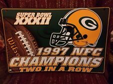 Green Bay Packers Super Bowl XXXII 1997 NFC Champions Two In A Row Sign NFL New