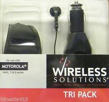 Motorola Tri-Pack: Belt Clip Phone Case, Car Charger, Earbuds for V60C, T, & G