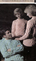 KNITTING PATTERNS MENS WOMENS CHILDREN ARAN CABLE CARDIGANS SWEATERS JACKET V07