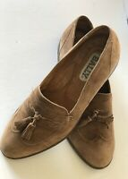 BALLY Mens Shoes Brown Suede With Tassels Sz 8 1/2 D