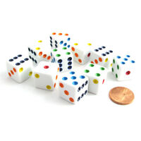 Set of 10 Six Sided D6 16mm Standard Dice Die - White with Multi-Color Pips
