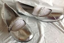 NWOB, Guess heels, Prescott design, silver color leather, rubber soles, 8.5M