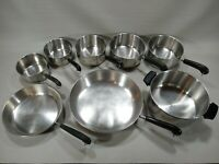 VTG Revere Ware 8 Pc Disc Bottom LOT/SET Sauce Pans Skillets Stock Pot-NO LIDS
