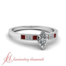 Milgrain Style Princess Red Ruby Engagement Ring 0.80 Ct Marquise Cut Diamond