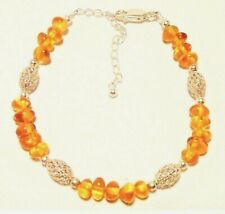 "AMBER BRACELET GENUINE BALTIC STERLING SILVER, ADJUSTS 17 TO 22CM ""NEW"" AUZ MADE"