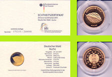 """2011 - 20 EURO - Deutscher Wald - Buche - Buchstabe """"G"""" - GOLD"""